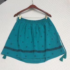 LOFT Skirts - LOFT Dark Emerald Embroidered Gathered Skirt.1890